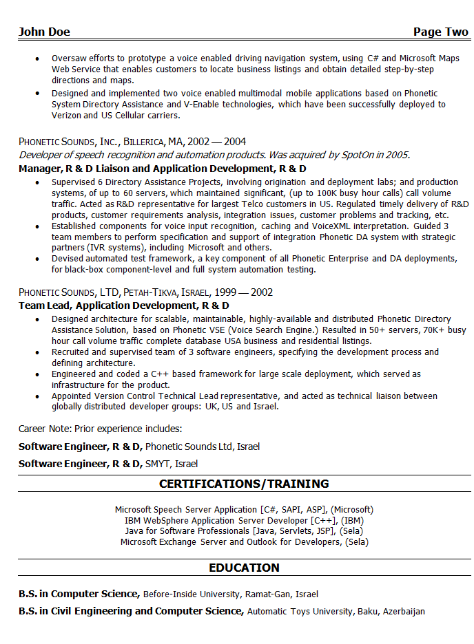 resume for engineers